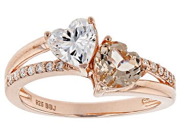 Picture of Moissanite Fire® .94ctw DEW And .70ctw Morganite 14k Rose Gold Over Sterling Silver Ring