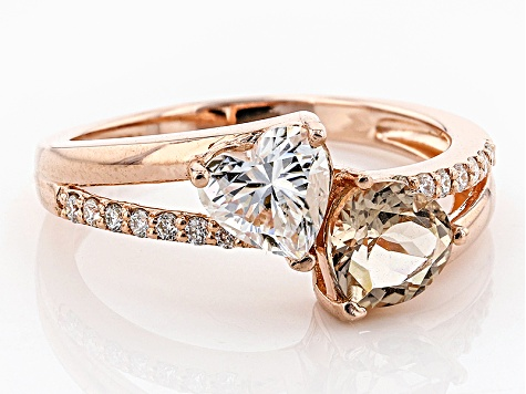 Moissanite Fire® .94ctw DEW And .70ctw Morganite 14k Rose Gold Over Sterling Silver Ring