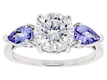 Picture of Moissanite Fire® 1.90ct DEW Round And .78ctw Pear Shape Tanzanite Platineve™ Ring