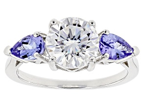 Moissanite Fire® 1.90ct DEW Round And .78ctw Pear Shape Tanzanite Platineve™ Ring