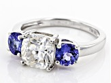 Moissanite Fire® 2.00ct DEW Cushion Cut And 1.04ctw Round Tanzanite Platineve™ Ring