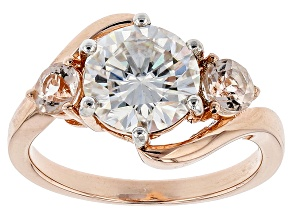 Moissanite Fire® 2.20ct DEW Round And .44ctw Round Morganite 14k Rose Gold Over Silver Ring