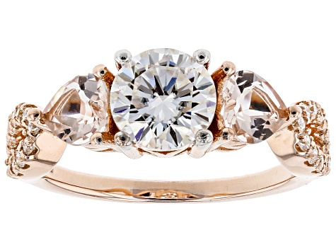 Moissanite Fire® 1.46ctw DEW Round And .80ctw Heart Shape Morganite 14k Rose Gold Over Silver Ring