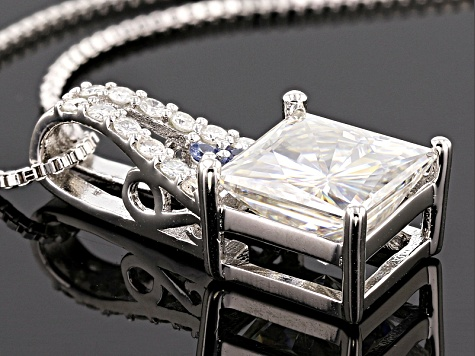 Moissanite Fire® 3.22ctw DEW And .05ctw Blue Sapphire Platineve™ Pendant And Chain