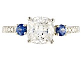 Moissanite Fire® 1.80ctw DEW And .37ctw Blue Sapphire Platineve™ Ring