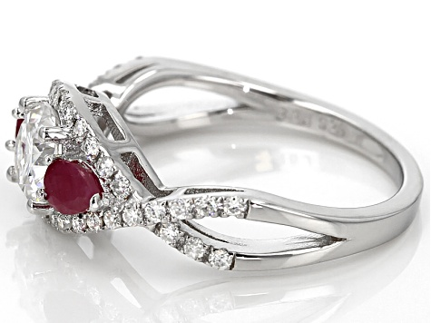 Moissanite Fire® 1.18ctw DEW Round And Pear Shape .40ctw Ruby Platineve™ Ring