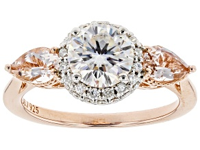 Moissanite Fire® 1.51ctw DEW And .66ctw Morganite 14k Rose Gold Over Silver Ring