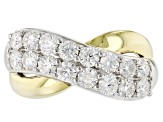 Moissanite Fire® 1.60ctw DEW Platineve™ And 14k Yellow Gold Over Platineve Two Tone Ring
