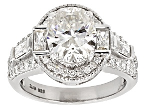 Moissanite Fire® 3.78ctw DEW Oval And Baguette With Round Platineve™ Ring