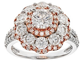 Moissanite Platineve And 14k Rose Gold Over Platineve Ring 3.10ctw DEW