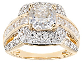 Moissanite 14k Yellow Gold Over Silver Ring 4.04ctw DEW