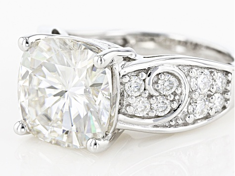 Moissanite Fire®7.28ctw Diamond Equivalent Weight Cushion Cut And Round Platineve™ Ring