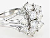 Moissanite Fire® 1.56ctw Diamond Equivalent Weight Trillion And Cushion Cut Platineve™ Ring