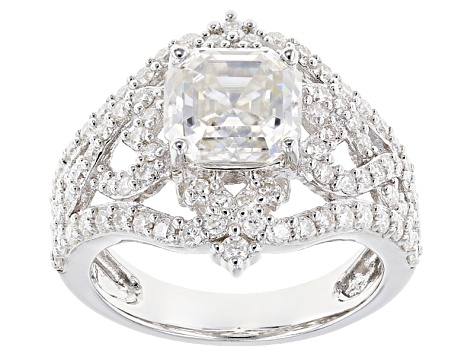 Moissanite Fire® 4.26ctw DEW Asscher Cut And Round Platineve™ Ring