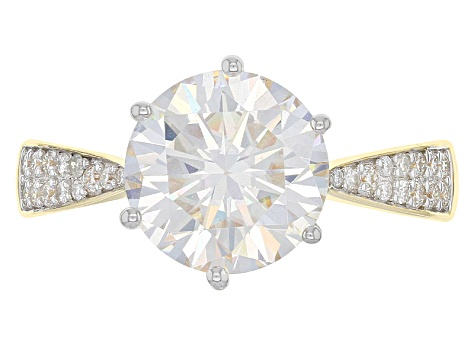 Moissanite 14k Yellow Gold Over Silver Ring 3.36ctw DEW