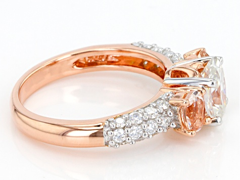 Moissanite Fire® 1.98ctw DEW And .62ctw Morgainte 14k Rose Gold Over Silver Ring