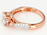 Moissanite Fire® 1.54ctw DEW And .38ctw Morganite 14k Rose Gold Over Silver Ring