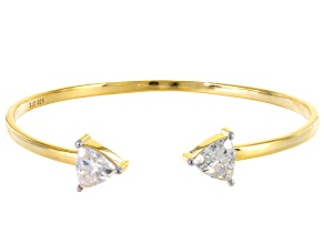 Moissanite Fire® 2.60ctw DEW Trillion Cut 14k Yellow Gold Over Silver Open Bangle Bracelet