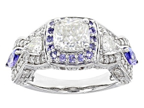 Moissanite Fire® 2.42ctw DEW And .60ctw Tanzanite Platineve™ Ring