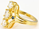 Moissanite Fire® 1.96ctw DEW And .10ctw  Blue Sapphire 14k Yellow Gold Over Silver Ring