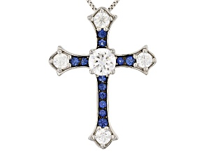 Moissanite Fire® 1.44ctw DEW And .43ctw  Blue Sapphire Platineve™ Cross Pendant With Chain
