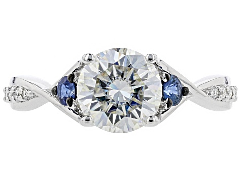 Moissanite And Blue Sapphire Platineve Ring 2.00ctw DEW.