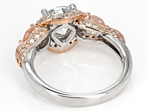 Moissanite And Morganite Platineve And 14k Rose Gold Two Tone Ring 2.64ctw DEW.