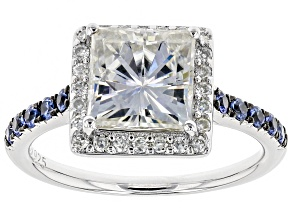 Moissanite And Blue Sapphire Platineve Ring 2.74ctw DEW.