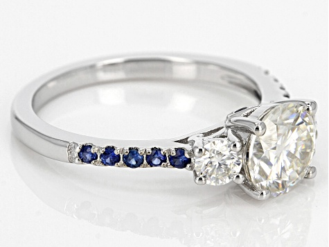 Moissanite Blue Sapphire Platineve Ring 1.52ctw DEW.