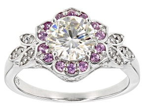 Moissanite And Pink Sapphire Platineve Ring