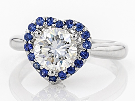 Moissanite And Blue Sapphire Platineve Ring 1.50ct DEW.