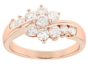 Moissanite 14k rose gold over silver ring .93ctw DEW