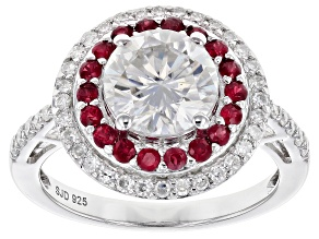 Moissanite And Ruby Platineve Ring 2.38ctw DEW.