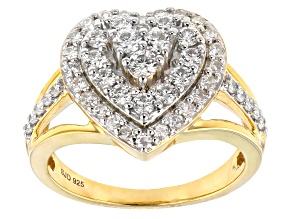 Moissanite 14k Yellow Gold Over Silver Ring .88ctw DEW
