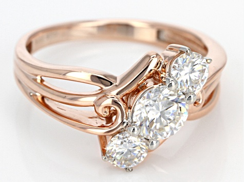 Moissanite 14k Rose Gold Over Silver Ring 1.06ctw DEW