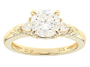 Moissanite 14k Yellow Gold Over Silver Ring 1.68ctw DEW