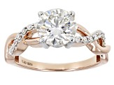 Moissanite 14k rose gold over Platineve two tone ring 2.06ctw DEW