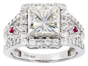Moissanite and Ruby Platineve™ ring 3.90ctw DEW