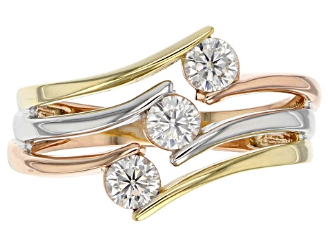 Moissanite 14k Rose And Yellow Gold Over Platineve Tri Color Ring .48ctw DEW