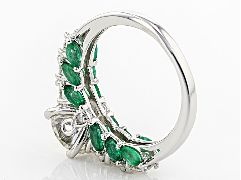 Moissanite And Emerald Platineve Ring.