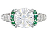 Moissanite and Emerald Platineve Ring 4.76ctw DEW