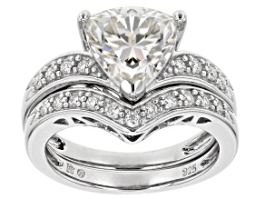 Moissanite Platineve ring with band 2.78ctw DEW