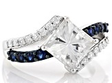 Moissanite and blue sapphire platineve ring.
