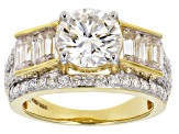 Moissanite 14k Yellow Gold Over Silver Ring 4.20ctw DEW