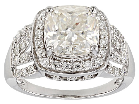 Moissanite Platineve Ring 4.32ctw DEW.
