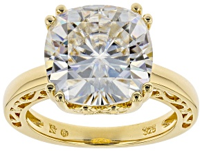 Moissanite 14k Yellow Gold Over Sterling Silver Ring 7.98ct DEW