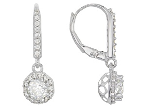 Moissanite Platineve Earrings 1.44ctw DEW