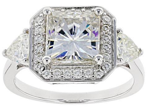 Moissanite Platineve Ring 3.34ctw DEW.