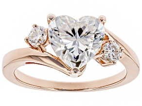 Moissanite 14k rose gold over silver ring 2.46ctw DEW.