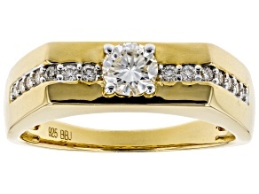 Moissanite 14k Yellow Gold Gents Rings .78ctw DEW.